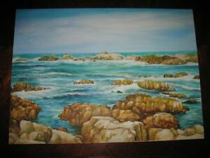 Original-Petrillo-Studio-Seascape-Oil-Painting-Rocks-Ocean-Landscape-Seascape