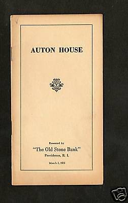 The Old Stone Bank Booklet Auton House C 1931