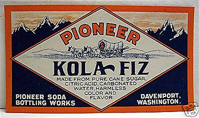 Pioneer Kola Fiz Old Soda Label Davenport Washington