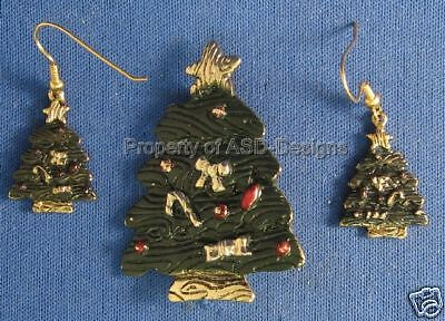 Signed L F Holiday Christmas Tree Earring & Brooch 5935