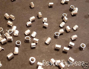 200 Pcs Silver Plated Crimp Tube End Beads 2mm (JA003)