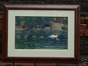 American-19th-C-Signed-Sporting-Watercolor-Painting-Ducks-Ducklings