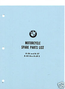 vintage bmw motorcycle parts book (r26,r27,r50 to r69s)