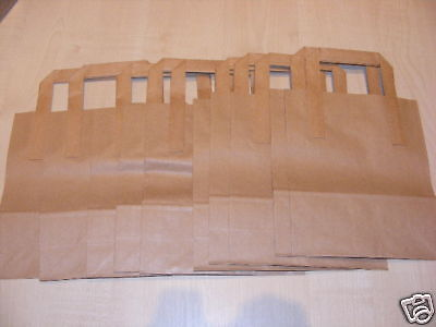 10 BROWN PAPER CARRIER BAGS WITH FLAT HANDLES 7 X 8.5
