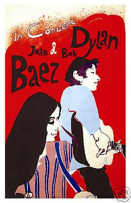 Folk: Bob Dylan & Joan Baez at  New York Concert Poster Circa 1965