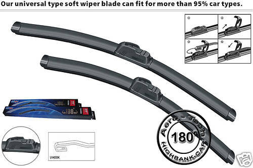 AERO FLAT FRONT WINDSCREEN WIPER BLADES one pair of 20