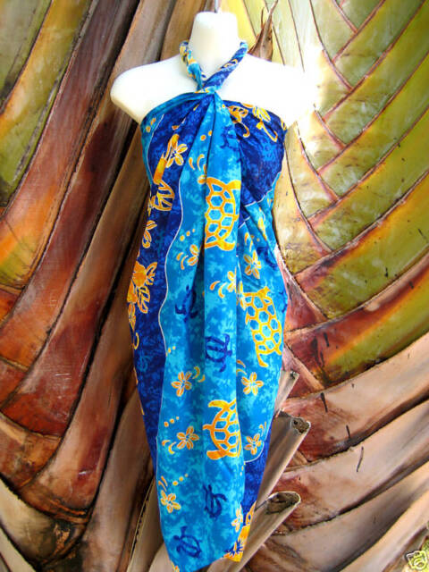 Hawaii Pareo Sarong Blue Turtle Floral Plus Size Beach Pool Coverup