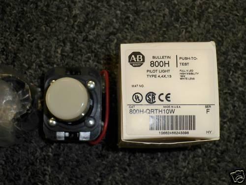 Allen Bradley 800h-qrth10w White Led Pilot Light 120v Full Voltage New In Box