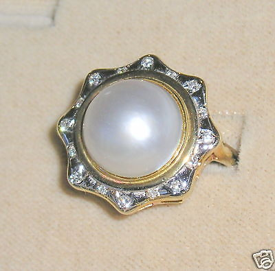 SOLID     14K Gold     MABE   Pearl     DIAMOND     Ring for sale  Los Angeles