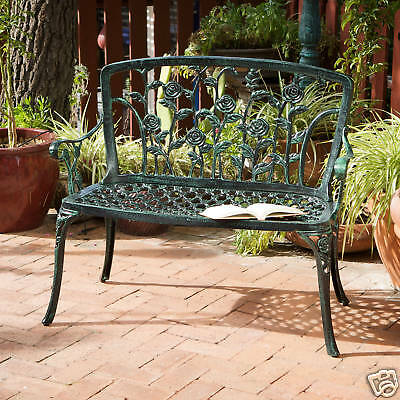 Outdoor Patio Furniture Antique Green Finish Floral Style Cast Aluminum Bench