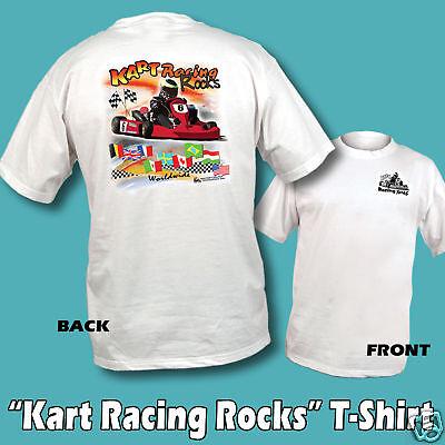 Kart Racing Rocks T-shirt White 5 Adult Sizes Go Kart