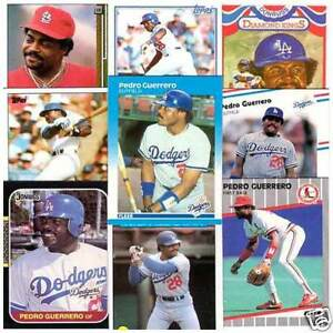 Details About Pedro Guerrero 25 Different Baseball Cards Los Angeles Dodgers Cardinals