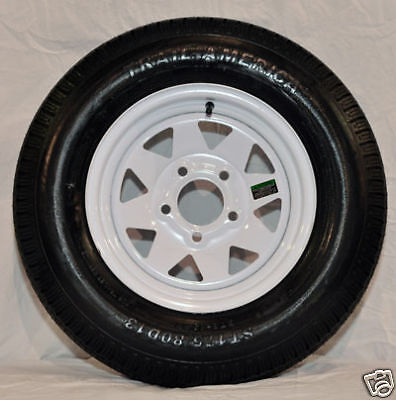 "ST 205/75R14 Radial Trailer Tire 14"" White Spoke Wheel"