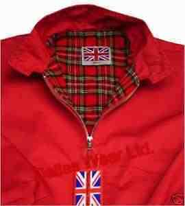 Mens Retro Harrington Jacket Coat Mod Skin Ska Red Xxl
