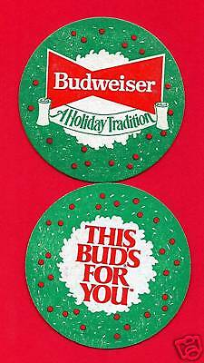 10 Old Budweiser Xmas Holiday Beer Coasters An Busch