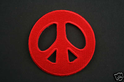 ECUSSON Brodé - PATCH Thermocollant - PEACE AND LOVE / 7cm / ROUGE / PATCHE