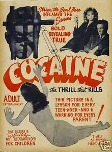 Vintage 1950's Anti Cocaine Ad Poster A3 reprint