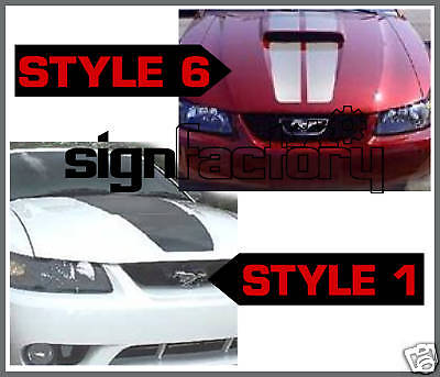 99-04 Ford Mustang Custom Hood Stripes Decals Gt