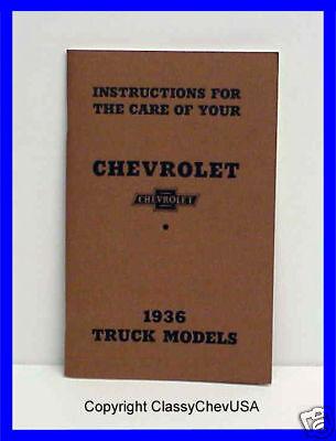 1936 Chevrolet Truck Chevy Operators Manual
