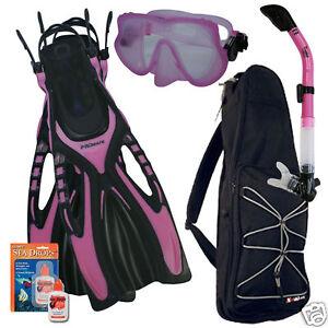 snorkeling mask dry snorkel fins bag dive gear kit set | ebay