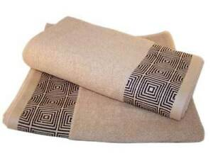 Set of 2 Embroidered Bath Towel in Biscuit