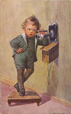 Kind am Telefon - Künstlerkarte um 1925