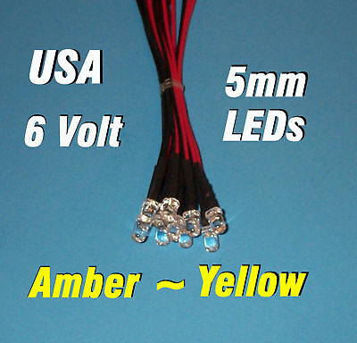 10 X Led - 5mm Pre Wired Leds 6 Volt Amber / Yellow 6v