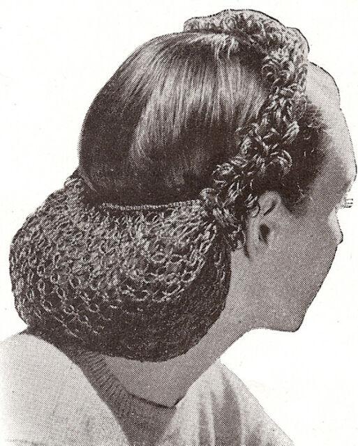 Vintage Crochet Pattern To Make Snood Hair Net Looped Head Band