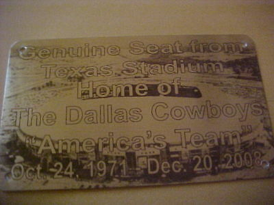 DALLAS COWBOYS TEXAS  Stadium seat PLAQUE