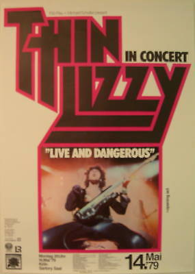 THIN LIZZY CONCERT TOUR POSTER 1979 LIVE AND DANGEROUS LAST ONE
