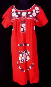 VINTAGE-1970-039-S-80-039-S-RED-COTTON-EMBROIDERED-DRESS