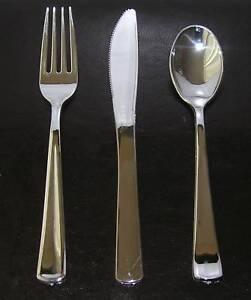 36-x-Silver-Chrome-Heavy-Duty-Plastic-Cutlery-3-x-12