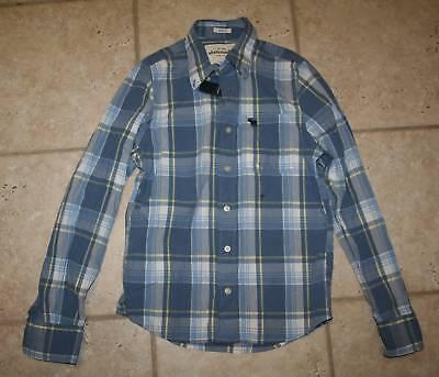 Abercrombie Boys Medium Muscle Fit Blue Button Front Shirt - Last One
