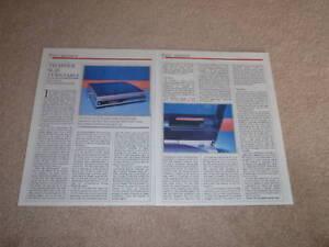 Technics SL-J2 Turntable Review, 2 pgs, 1985, Full Test