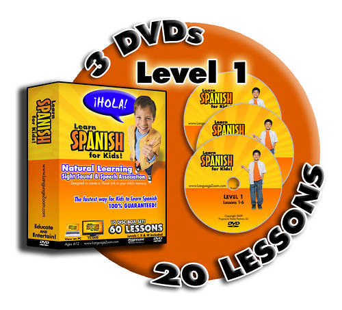 Learn Spanish for Kids! LEVEL 1,  20 Fun Languag Lessons on 3 DVDs + Worksheets