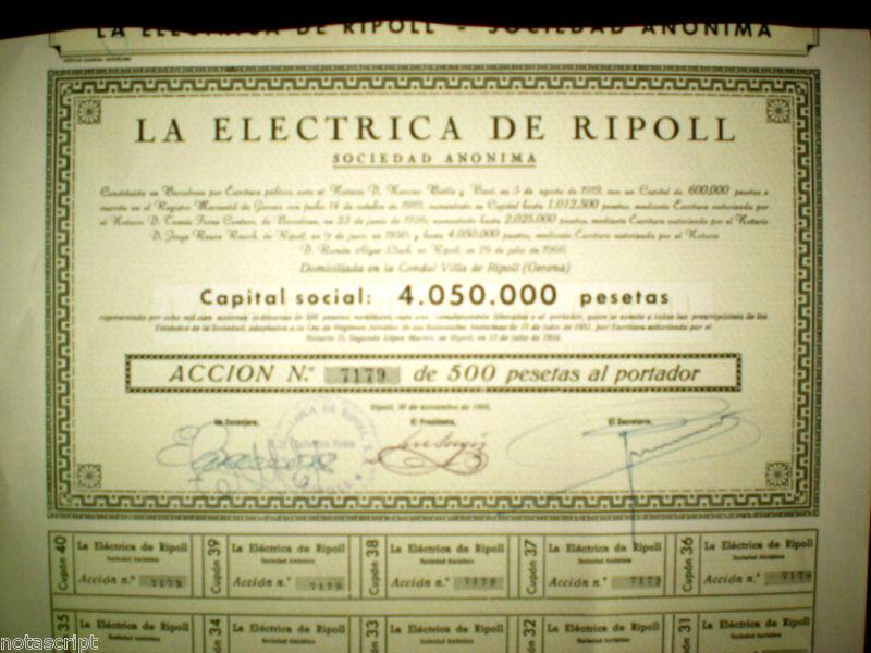 La Electrica de Ripoll ,Gerona,Spain, share certificate ,acción