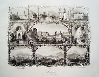 Salzburg Souvenirblatt Österreich  Stahlstich 1848