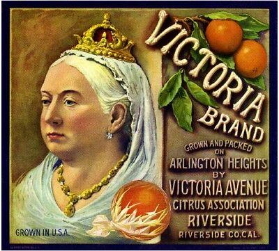 Riverside English British Queen Victoria Orange Citrus Fruit Crate Label Print