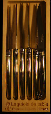 Genuine Laguiole French Steak Knives Set Of 6 Stainless Steel Chrome Handles