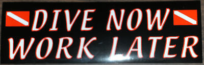 "Scuba Diving Bumper Sticker Decal ""Dive Now Work Later"" DS59"