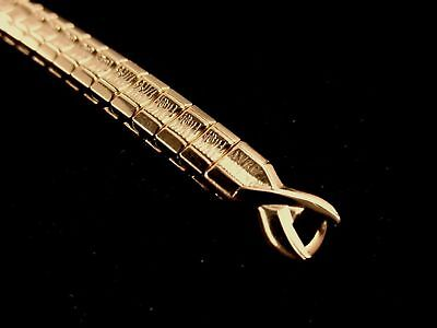 Ladies Speidel Light Yellow Gold Plated Stretch Watch Band W C Ring Hook Ends
