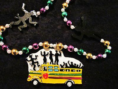 HOPPING-PARTY-BUS-MARDI-GRAS-NECKLACE-BEAD-FLOAT-DANCING-B912