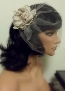 Champagne-Satin-Rose-Feathers-Birdcage-bridal-Veil-NEW