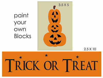 Stencil Trick Treat Stack Jack O Lantern Pumpkin Magic Rustic Fall Halloween Art