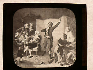 ca-1890-Magic-Lantern-Glass-Slide-ROUGET-deLISLE-CHANTING-MARSEILLAISE-in-1792