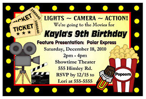 Movie Night Birthday Party Invitations Choice Image Invitation