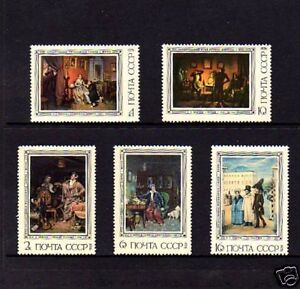 RUSSIA - 1976 - PAINTINGS - FEDOTOV - MINT - SET OF 5!