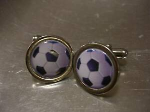 FOOTBALL SOCCER BALL CHROME FINISH CUFFLINKS