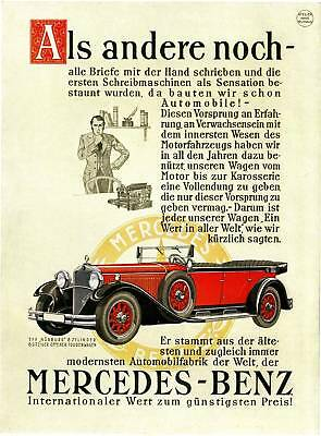 Mercedes-Benz Plakat 1930 Oldtimer Typ Nürburg farbig