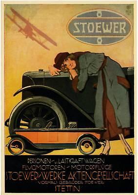 Plakat STOEWER Automobile 1922 Oldtimer, Reprint farbig